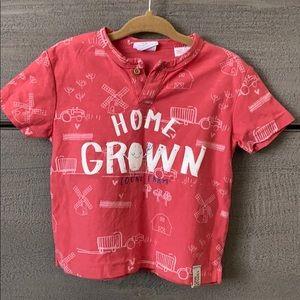 Zara short sleeve Home Grown T 9-12 mo